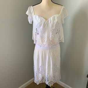 Bebe White Lace skirt and cropped shirt outfit